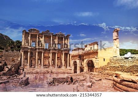 Celsus Library in Ephesus museum, Turkey - stock photo