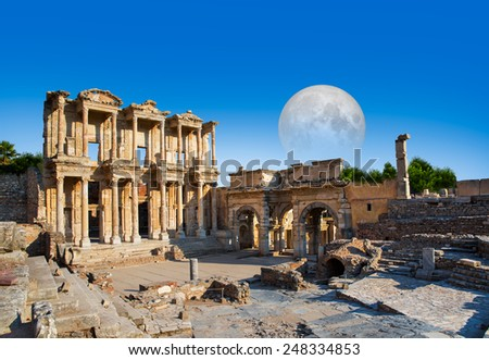 """Celsus Library in Ephesus, Turkey """"Elements of this image furnished by NASA """"  - stock photo"""