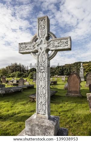 Celtic Cross at the Gaelic Chapel, Cromarty, Scotland - stock photo