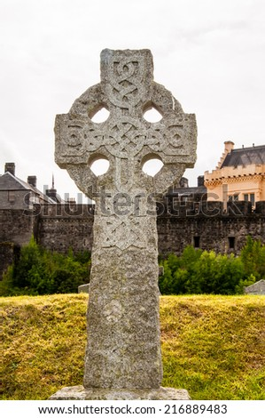 celtic cross tombstone - stock photo