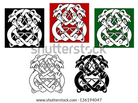 Celtic dogs and wolves pattern with ornamental elements. Vector version also available in gallery - stock photo
