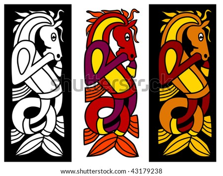 Celtic ornament element with horse - stock photo