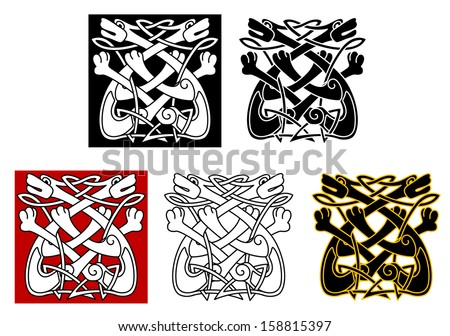 Celtic ornament with dogs and wolves for medieval design or idea of logo. Vector version also available in gallery - stock photo