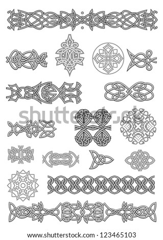 Celtic ornaments and patterns set for embellish and ornate - stock photo