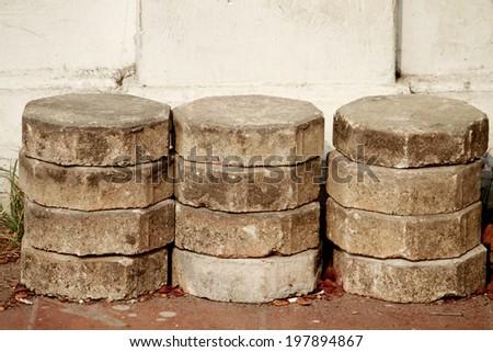 Cement block pathway - stock photo