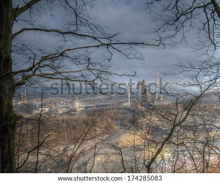 Cement factory industrial zone,  Czech Republic, industry and pollution, quarry - stock photo
