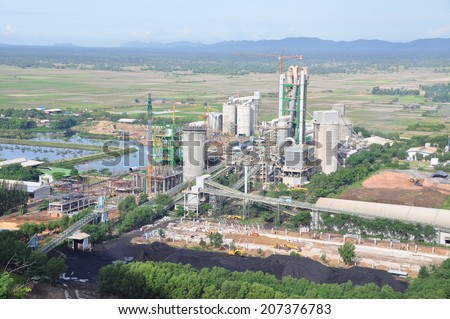Cement factory, plant  - stock photo