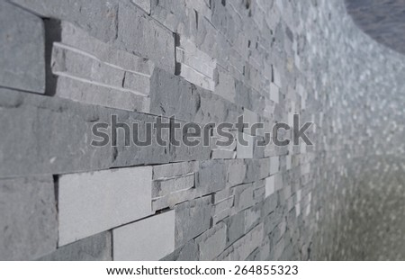 cement grey tile texture perspective with blur background - stock photo