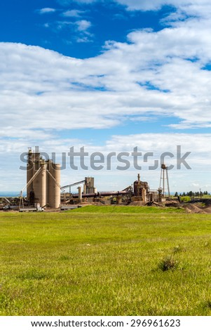 Cement plant during sunny day, Colorado, USA - stock photo
