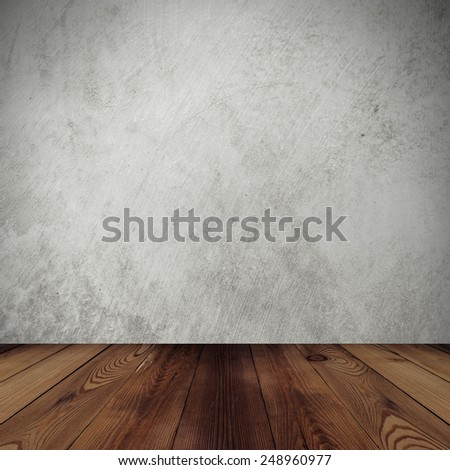 cement wall background and wood floor for room - stock photo