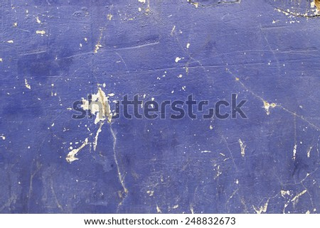Cement wall painted blue, detail of a wall decorated - stock photo