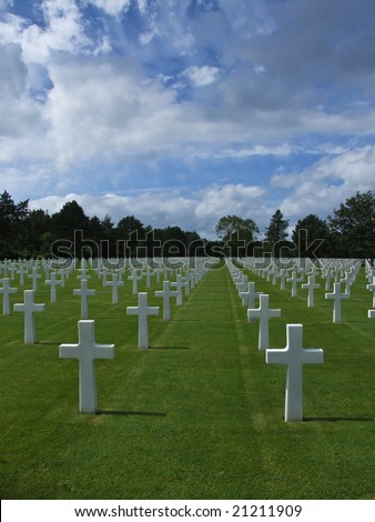 Cementery of american soldiers of Vierville sur Mer - Normandy - France - stock photo