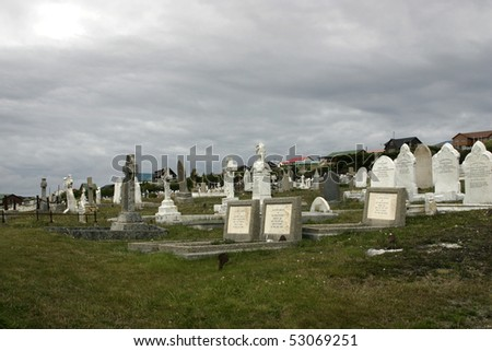 Cemetary Snake Hill in Port Stanley, Falkland Islands. - stock photo