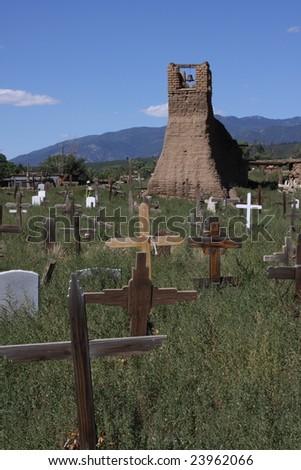Cemetery at Taos Pueblo, New Mexico - stock photo