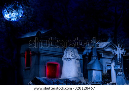 Cemetery Halloween background with graves  - stock photo