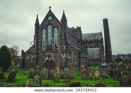 Cemetery in front of Cathedral Church of St Canices in Kilkenny, Ireland - stock photo