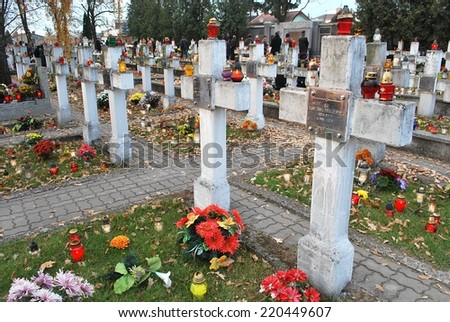 Cemetery, memory on the people who have died - stock photo