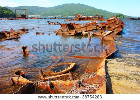Cemetery of a old ships - stock photo