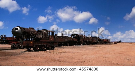 Cemetery of trains in Bolivia - stock photo