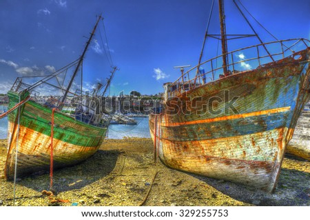 Cemetery old ships of Camaret-sur-Mer, HDR, Brittany, France - stock photo