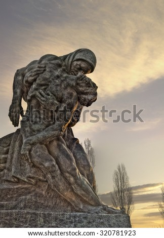 cemetery tombs and statues  - stock photo