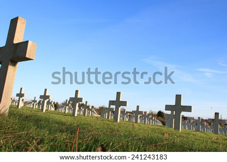 Cemetery world war one in France Vimy La Targette - stock photo