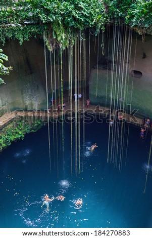 Cenote Ik-Kil near Chichen Itza, Mexico - stock photo