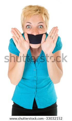censored blond woman mouth tied with blindfold trying to speak - stock photo
