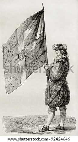 Cent-Suisses flag, old illustration (military company established by Charles VIII of France). Created by Brebant, published on Magasin Pittoresque, Paris, 1845 - stock photo