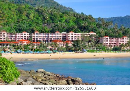 Centara Grand Beach Resort. View from rock. - stock photo