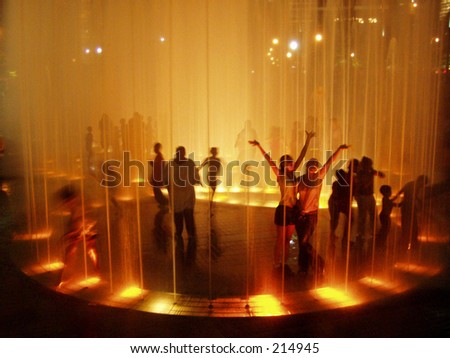 Centennial Olympic Park fountain at night, Atlanta, Georgia - stock photo