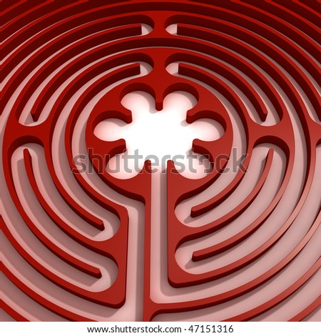 Center detail of a circular red labyrinth - stock photo