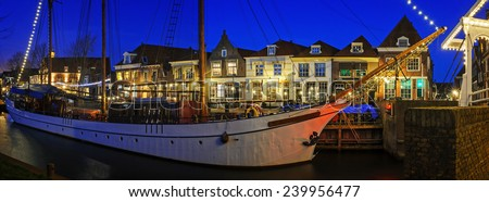 Center of Enkhuizen after sunset before the Christmas holidays, the Netherlands - stock photo
