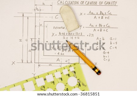 Center of Gravity Calculation - stock photo