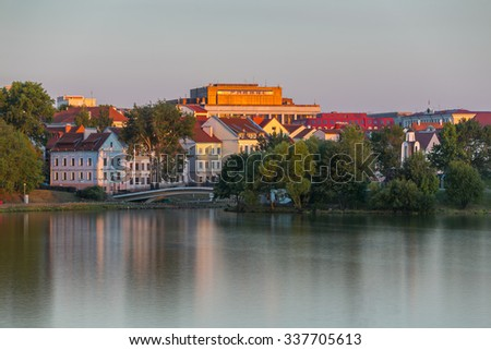 Center of Minsk at the evening - stock photo