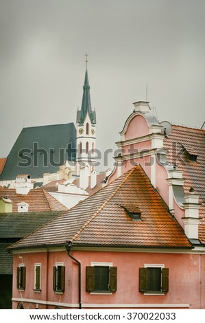 Center of Old Town of Cesky Krumlov, Czech Republic - stock photo