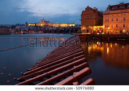 Center of Prague seen from Vltava riverside, Czech republic - stock photo