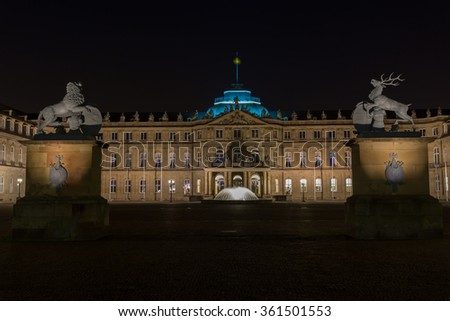 Center square of the stuttgart in the blue hour - stock photo