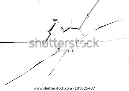 Centered hole in glass isolated on white background - stock photo