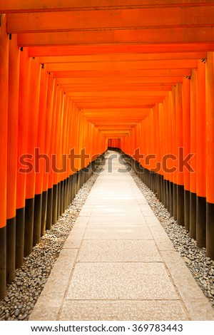 Centered stone walkway leads straight down the middle of repeating symmetrical red torii gates at Fushimi Inari Shrine during daytime with nobody present in Kyoto, Japan. Vertical copy space - stock photo