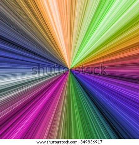 Centered striped colorful background. Rainbow vivid curved rays in spectrum, background template - stock photo