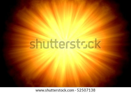 Centered sun flare or  fire ball on dark background - stock photo