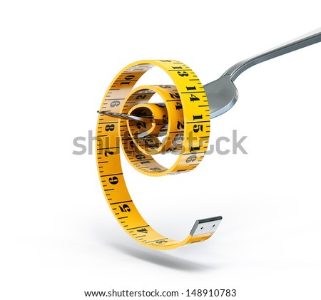 centimeter on a fork isolated  white background - stock photo