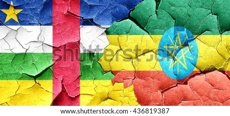 Central african republic flag with Ethiopia flag on a grunge cra - stock photo