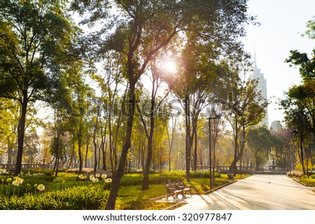 Central Alameda park morning in Mexico city in morning sunlight - stock photo