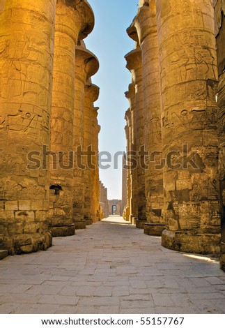 Central alley of Great Hypostyle Hall in Karnak Temple, Luxor, Egypt - stock photo