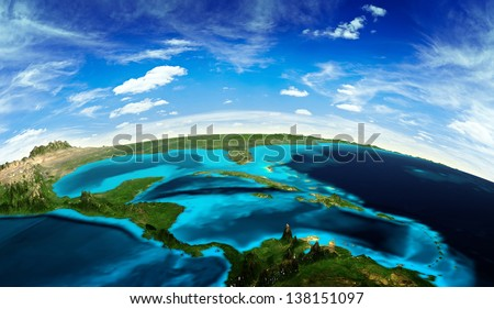 Central America landscape from space. Elements of this image furnished by NASA - stock photo