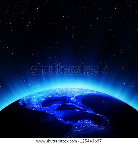 Central America night. Elements of this image furnished by NASA - stock photo