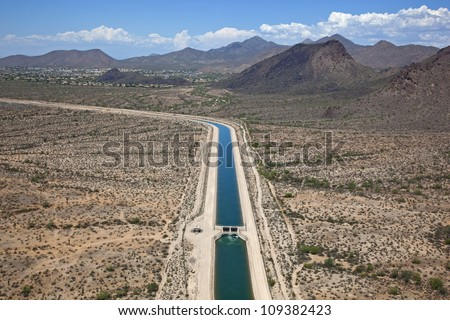 Central Arizona Project (CAP), is designed to bring about 1.5 million acre-feet of Colorado River water per year to Pima, Pinal and Maricopa Counties - stock photo