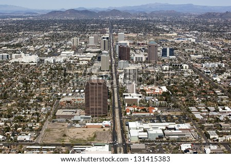 Central Avenue in Phoenix, Arizona looking North - stock photo